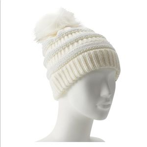 Accessories - Women's Lurex Pom beanie ivory and silver NWT
